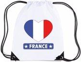 Frankrijk nylon rijgkoord rugzak/ sporttas wit met Franse vlag in hart