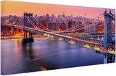 Brooklyn Bridge New York Canvas 120x80 cm - Foto print op Canvas schilderij (Wanddecoratie woonkamer / slaapkamer) / Steden Canvas Schilderijen