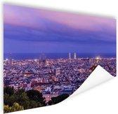 Barcelona skyline bij schemering Poster 180x120 cm - Foto print op Poster (wanddecoratie woonkamer / slaapkamer) / Steden Poster XXL / Groot formaat!