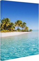 Tropisch strand blauw water Canvas 60x80 cm - Foto print op Canvas schilderij (Wanddecoratie woonkamer / slaapkamer) / Zee en Strand
