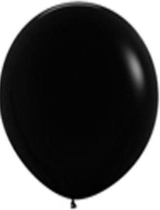 30 ballonnen: 15 confetti ballonnen zwart-zilver/goud en 15 effen zwarte ballonnen 30 cm