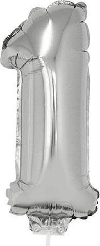 Zilveren opblaas cijfer ballon 1 op stokje 41 cm