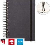 Notitieboek A5 zwart met spiraal, elastiek en tabs