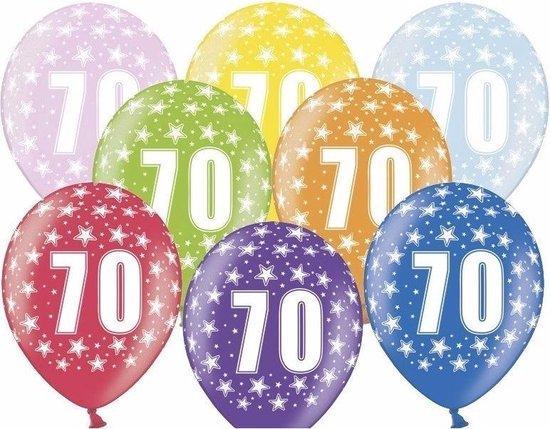 6x stuks Ballonnen 70 jaar print met sterretjes - Leeftijd feestartikelen en versiering