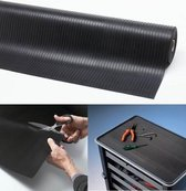 Rubber loper / Antislip / Rib n Roll broad rib 3 mm / 100 cm x 10 mtr / zwart