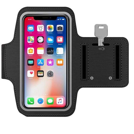 MMOBIEL Sport / Hardloop Armband (ZWART) voor iPhone 12/ 12 Pro/ 11 Pro / 11 / XR / XS / 8 Plus / 7 Plus / 6S Plus / 6 Plus - Spatwatervrij, Reflecterend, Neopreen, Comfortabel, Verstelbaar, Koptelefoon Aansluitruimte en Sleutelhouder