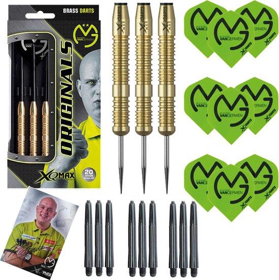 XQMax - Michael van Gerwen - 100% Brass - 20 gram - dartpijlen - inclusief extra - darts shafts - en - darts flights -