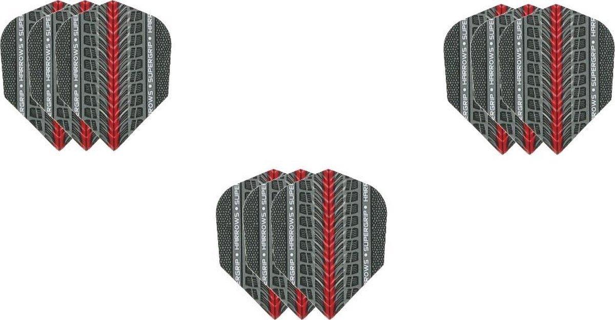 Harrows - 3 sets (9stus) Supergrip dartflights - Rood - dartflight - dart flight - flights