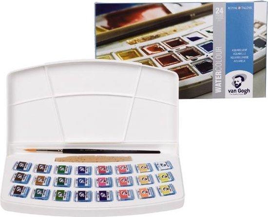 Afbeelding van Water Colour set 24 kleuren napjes aquarel aquarelverf met penseel, sponsje en mengschaal transparante waterverf speelgoed