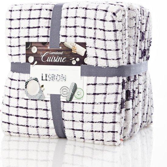 Lumaland - Handdoeken - Keukenhanddoeken - Set van 6 -  Lisbon Serie - 100% ringgesponnen katoen - 45x90 cm - Violet