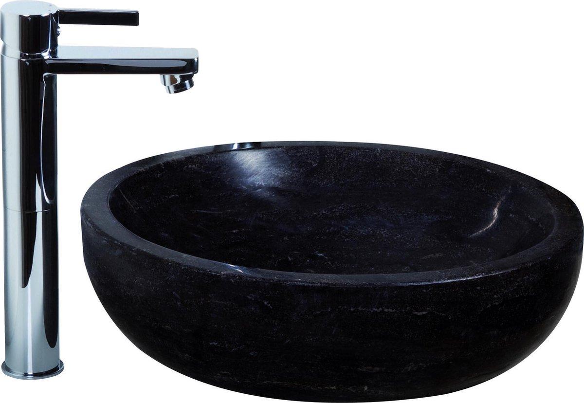Haceka Enza wastafelset natuursteen 40x12 cm incl. kraan