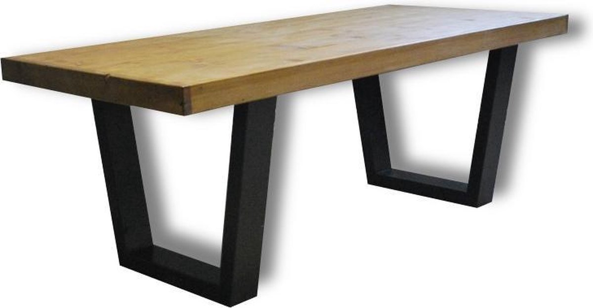 Tafel Fynn - 4/6 Persoons - Eettafel - Bruin/zwart - Industrieel - Eetkamertafel - 200x90 cm - Merkloos