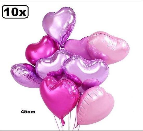 10x Folie ballon hart pearl roze assortie 45cm - folieballon huwelijk thema feest valentijn festival hartjes
