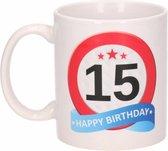 Verjaardag 15 jaar verkeersbord mok / beker