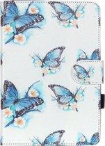Let op type!! Voor iPad mini 1 / 2 / 3 bloemen vlinder patroon horizontaal flip lederen draagtas met houder & Card Slots & portemonnee