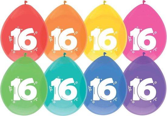 40 x ballonnen - 16 jaar - assorti kleuren