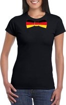 Zwart t-shirt met Duitsland vlag strikje dames S
