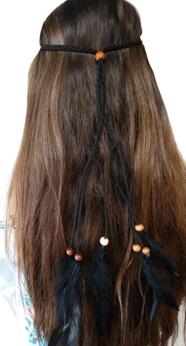 Jessidress Ibiza Style Haarband met veren Meisjes Hoofdband - Zwart - Jessidress