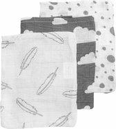 Meyco 3-pack hydrofiele washandjes - Feathers-Clouds-Dots - grijs/wit