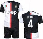 Juventus Replica Matthijs de LigtThuis Tenue Voetbalshirt + Broek Set Seizoen 2019/2020 Zwart / Wit