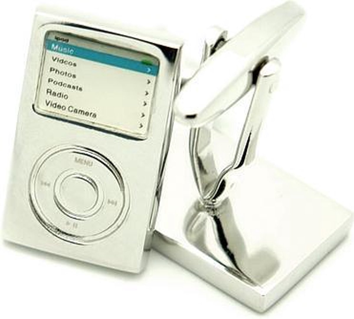 Manchetknopen - zilverkleurig - I-pod - ipod - muziek - mp3 speler iPod nano, shuffle, classic - Button Cufflinks
