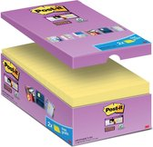 Value Pack: Post-it® Super Sticky Notes, Canary Yellow™, 76mm x 127 mm, 14 blokken + 2 GRATIS