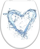 SCHÜTTE WC-Bril 82361 BLUE HEART - Duroplast - Soft Close - Afklikbaar - RVS-Scharnieren - Decor - 3-zijdige Print