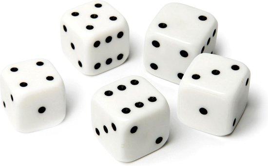 Dobbelstenen wit (5 stuks)