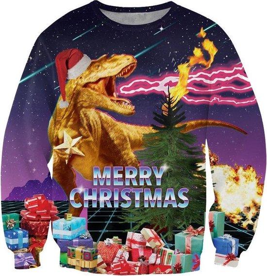Foute retro kersttrui met cadeaus en T-Rex Maat: S