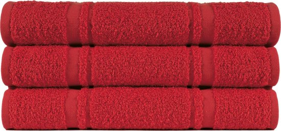 4 stuks Badstof Keukendoeken 50x50 cm Uni Pure Rood col 2307