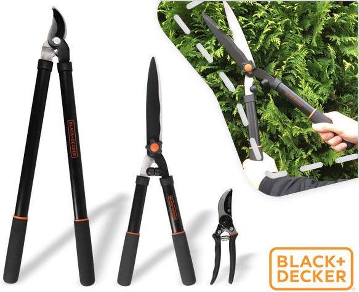 BLACK+DECKER 3-delige snoeiset  - takkenschaar, heggenschaar en snoeischaar (!) kopen