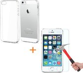 Transparante Silicone hoesje iPhone 5 5S SE met tempered glas screenprotector
