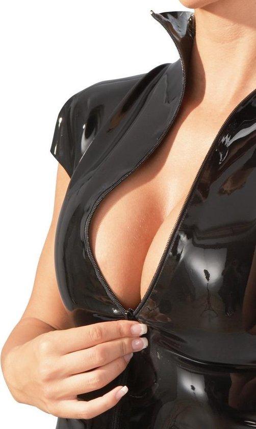 LateX – Latex Vrouwen Shirt met Kraag en Rits Sluiting voor Strak en Ondeugende Look Maat M – Zwart