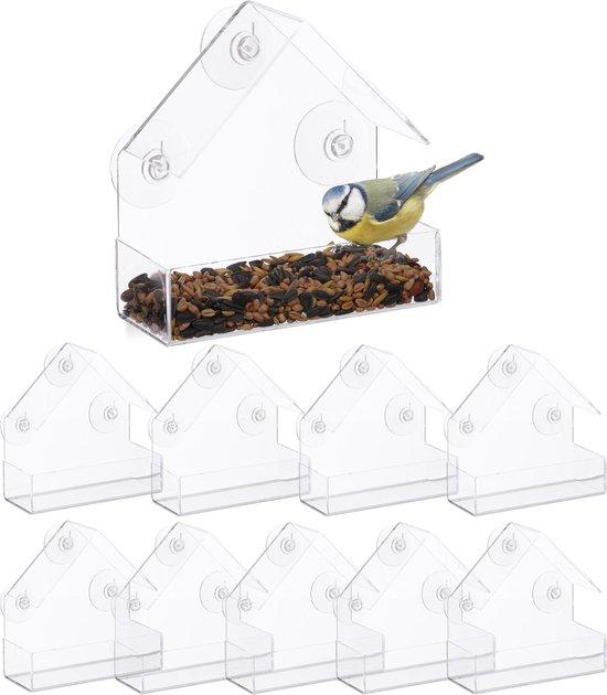 relaxdays 10 x vogelvoederhuis raam - 3 zuignappen - voederstation vogel - voedersilo