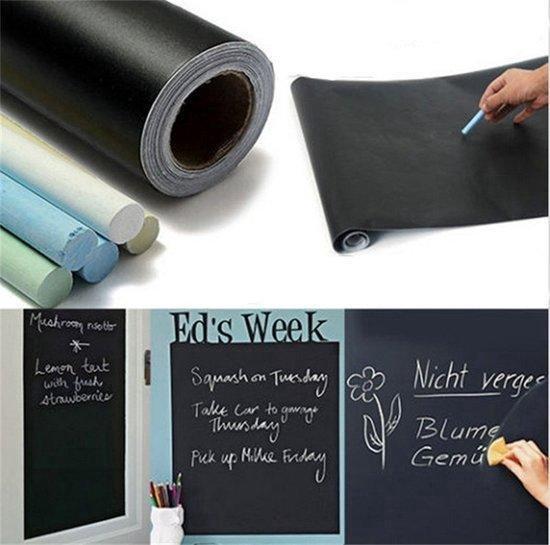 Krijtbord Sticker / Schoolbord Sticker - Kinder Krijtsticker + Kalkbord Krijtjes - Zwart