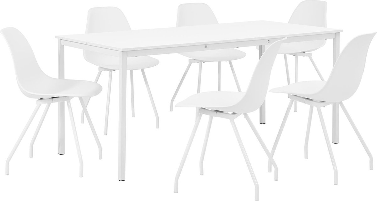 | Eetkamerset Ede wit tafel 160x80cm met 6 stoelen
