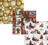 Assortiment 2 - Luxe Kerstpapier - Inpakpapier - Cadeaupapier - 300 x 70 cm - 3 rollen