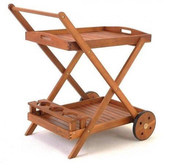 Casaria Trolley met wielen van acaciahout