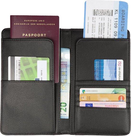 TravelSky Luxe Reis Portemonnee Leer - Paspoort Houder Reisportefeuille met RFID - Travel Wallet Etui Reis Documenten Organizer - Hoesje - Mapje - Dames - Heren - Zwart