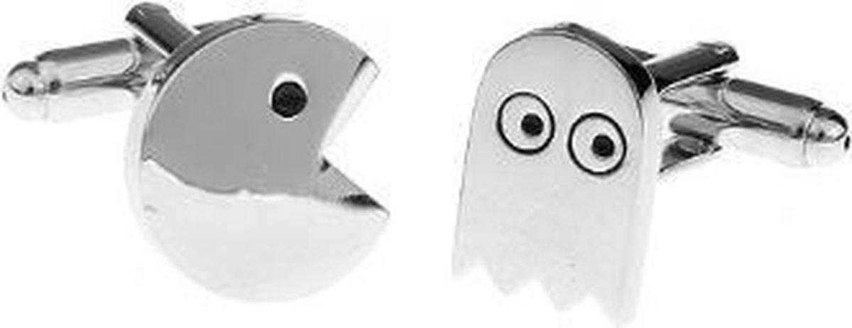Manchetknopen Pac-man zilverkleurig - Merkloos