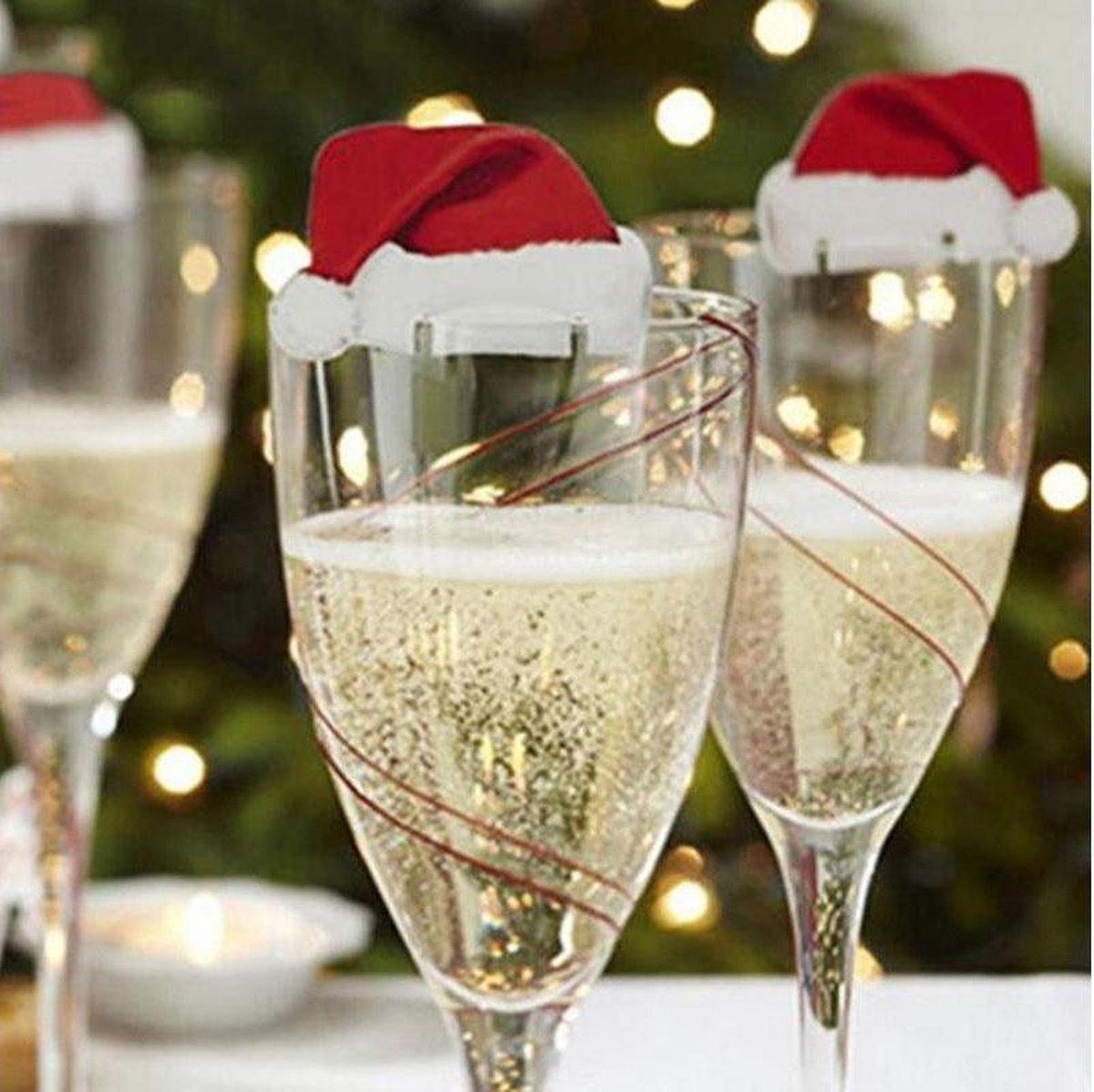 Kerstmuts Glasversiering Glasmarker - 10 Stuks - Wijnglasdecoratie - Ardran & Tookar
