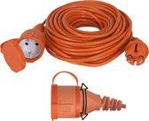 Exin Verlengsnoer - 20 meter - 2 x 1mm² - IP44 Spatwaterdicht - Oranje
