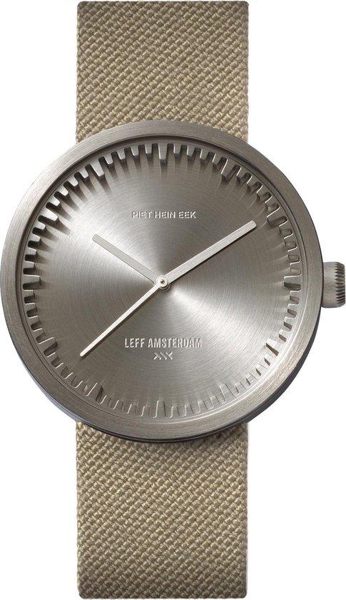 LEFF amsterdam – D38 – Horloge – Cordura – Staal/Zandkleurig – Ø 38mm