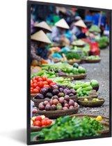 Foto in lijst - Markt Hoi An in Vietnam fotolijst zwart 40x60 cm - Poster in lijst (Wanddecoratie woonkamer / slaapkamer)