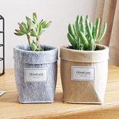 Set van kleine vilten plantenbakken – Moderne plantenpotten – Grijs & Bruin