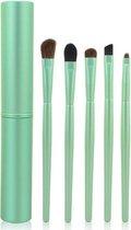 5-delige Make-up Kwasten/Brush Set + Koker - Groen| Fashion Favorite