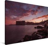 Zonsondergang over de haven Dubrovnik Canvas 140x90 cm - Foto print op Canvas schilderij (Wanddecoratie woonkamer / slaapkamer)