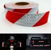 Reflectie tape - Veiligheids stickers voor verkeer - vrachtwagen, motor, aanhangwagen, evenementen etc. Rol van 10 meter reflecterend tape in rood/wit
