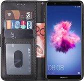 Huawei p smart 2018 hoesje bookcase met pasjeshouder zwart wallet portemonnee book case cover
