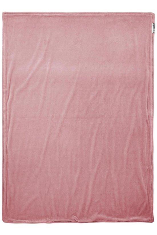 Meyco ledikantdeken Knit Basic met velvet - 100x150 cm - oudroze
